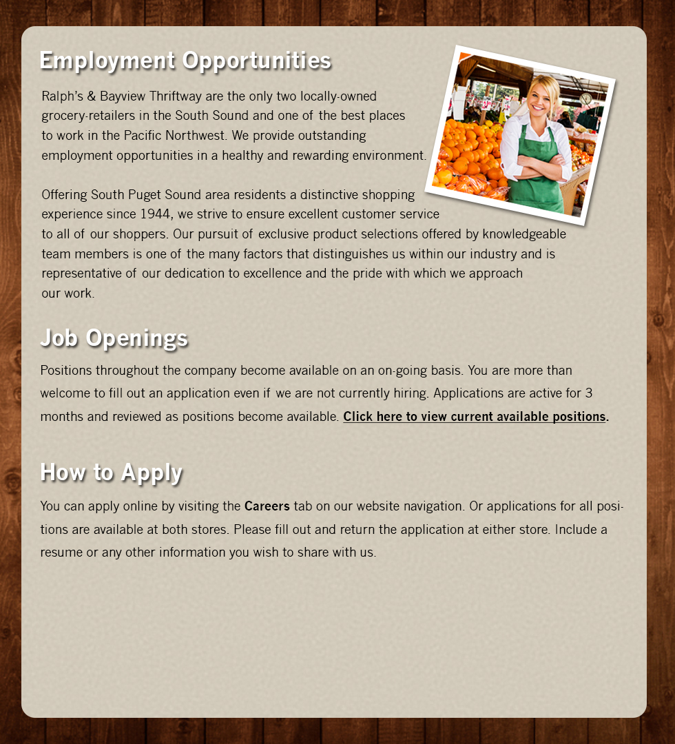 ralph s and bayview thriftway employment information