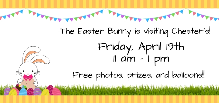 Easter Bunny visits Friday, April 19 from 11am-1pm