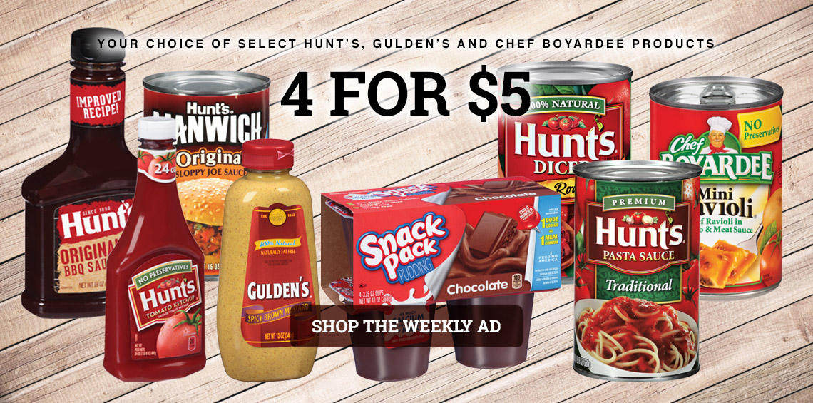 HUNTS 4 FOR $5.00