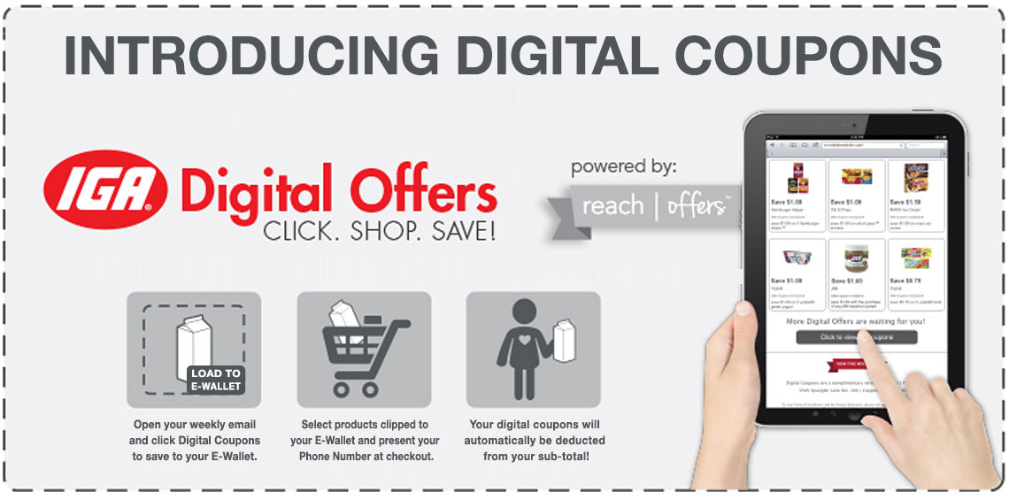 Introducing Digital Coupons - click to login and learn more