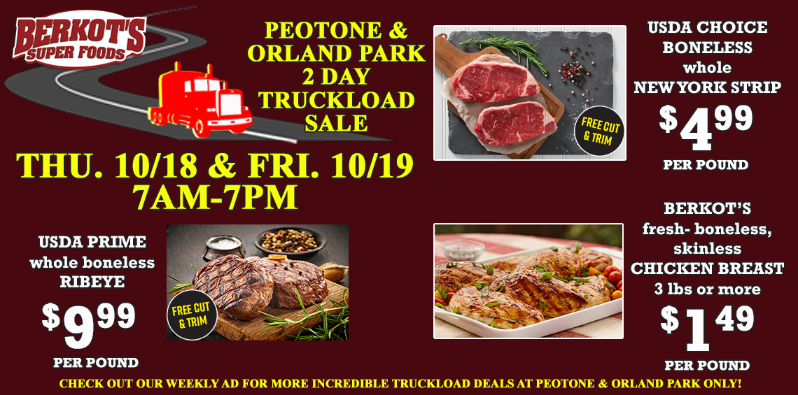 Truckload Meat Sales Thursday & Friday in Peotone & Orland Prak ONLY