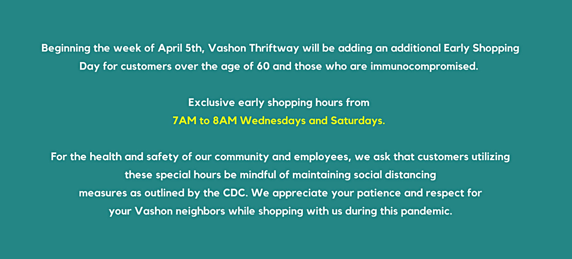 New Hours and More COVID Info