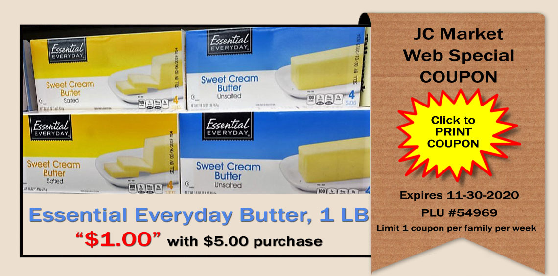1 lb of Butter for $1 with $5 purchase